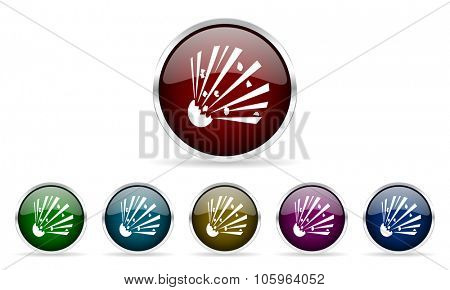 bomb colorful glossy circle web icons set