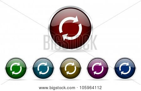 reload colorful glossy circle web icons set