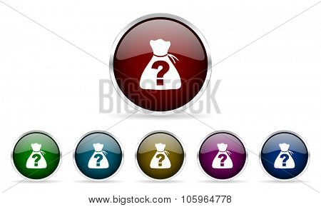 riddle colorful glossy circle web icons set