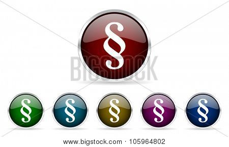 paragraph colorful glossy circle web icons set