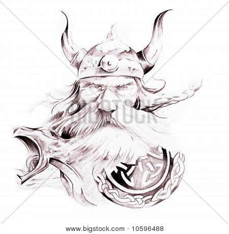 Tattoo Art, Sketch Of A Viking