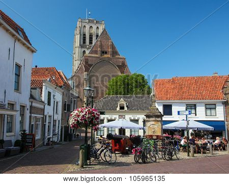 Church Of Saint Catherine And Old Houses In Brielle, The Netherlands