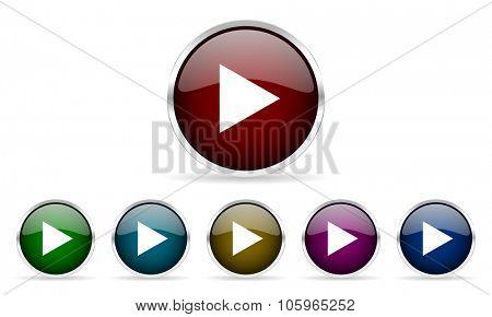 play colorful glossy circle web icons set