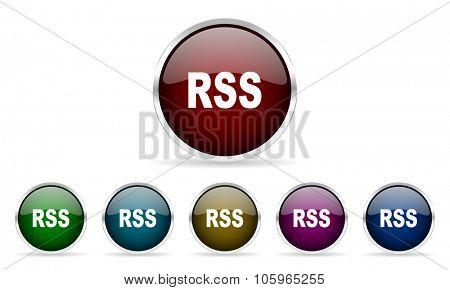 rss colorful glossy circle web icons set