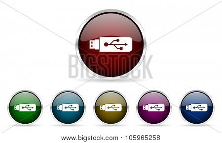 usb colorful glossy circle web icons set