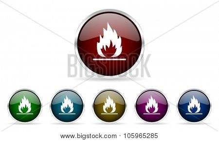 flame colorful glossy circle web icons set