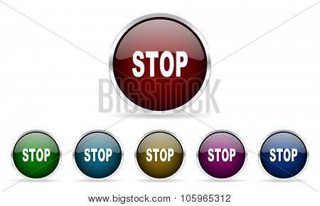 stop colorful glossy circle web icons set