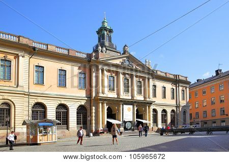 STOCKHOLM, SWEDEN - May 21, 2015: Building of Swedish Academy and Nobel Museum on Stortorget square in Stockholm