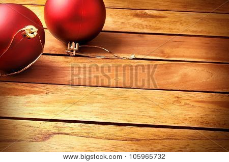 Balls Christmas Decoration On A Table Wooden Slats Top Diagonal