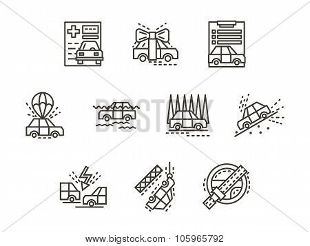 Simple line insurance cases vector icons