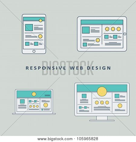 Responsive web design mockup template vector background. Smartphone, tablet, computer website layout