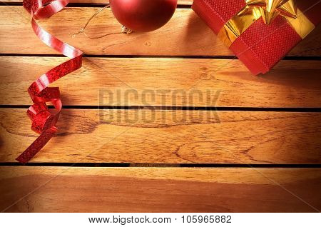 Christmas Decoration On A Table Wooden Slats Top