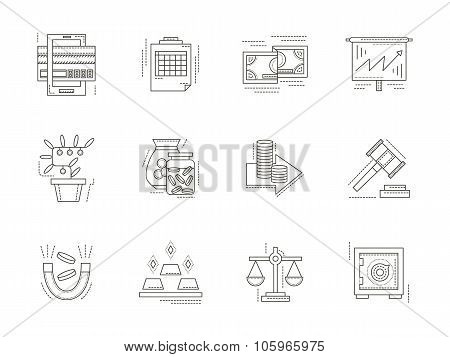 Banking flat line vector icons set