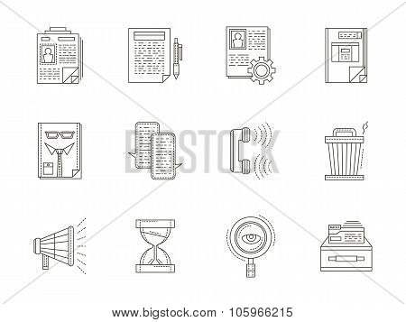 Recruiting thin line vector icons set