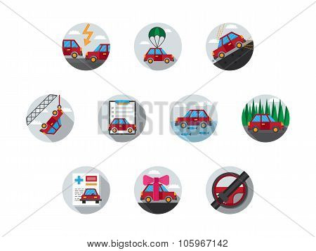 Colored auto insurance vector icons