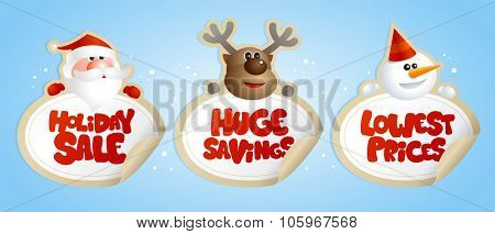 New year sale stickers with portraits of Santa, deer and snowman with text - holiday sale, huge savings, lowest prices.