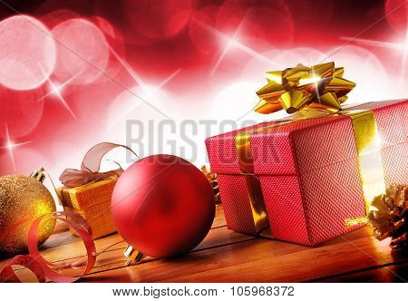Red Christmas Decoration On A Wooden Table Horizontal Composition Diagonal