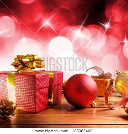 Red Christmas Decoration On A Wooden Table Square Composition