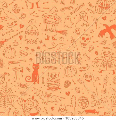 Halloween seamless pattern. Pumpkin, Ghosts, Cats, Skulls, Bats and other symbols