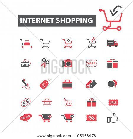 internet shopping, sales icons