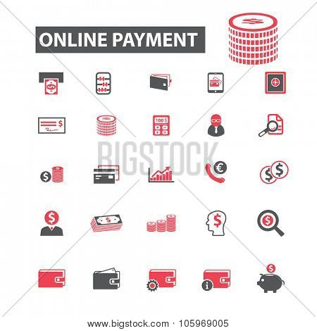 online payment, atm, finance, investment icons