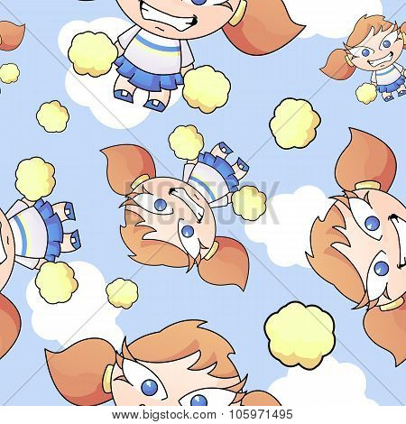 Cartoon Cheerleader Seamless Pattern