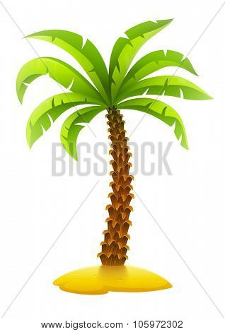 Coconut palm tree on sand island. vector illustration. Isolated on white background. Transparent objects used for lights and shadows drawing.