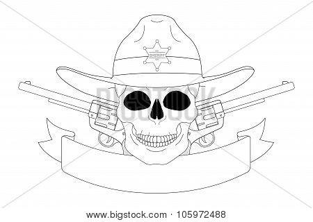Wild west sheriff emblem. Contour