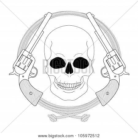 Wild west emblem. Skull and pistols in lasso frame. Contour