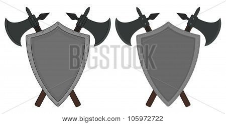 Two crossed axes and steel shield heraldry emblem