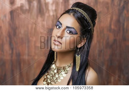 Egyptian Queen Cleopatra - make up model in studio