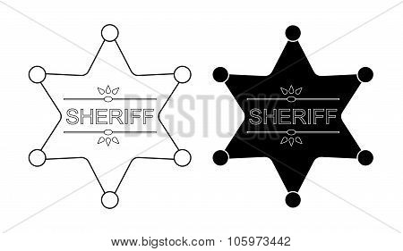 Wild west sheriff star. Contour, black