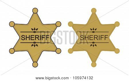 Wild west sheriff star. Color