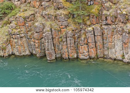 Eroded Basalt In A River Canyon