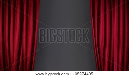 red curtain or drapes on stage background