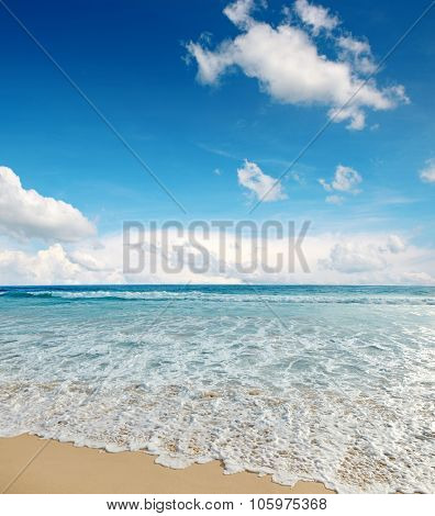 sea waves and blue sky