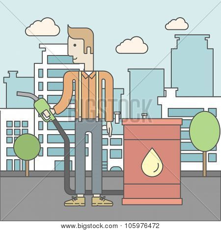 A caucasian man standing beside the oil can and holding filling nozzle on city background. Vector line design illustration. Square layout.