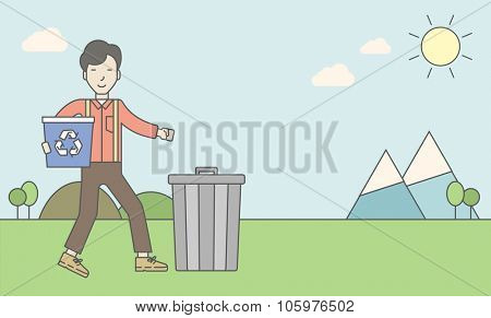 An asian man with a recycle bin in hand and another bin on the ground. Vector line design illustration. Horizontal layout with a text space for a social media post.