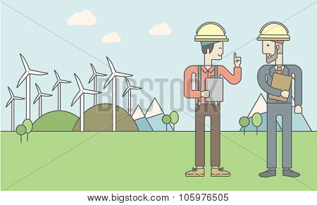 Two men in helmet with a tablet in hands on a background with solar panels and wind turbines. Vector line design illustration. Horizontal layout with a text space for a social media post.