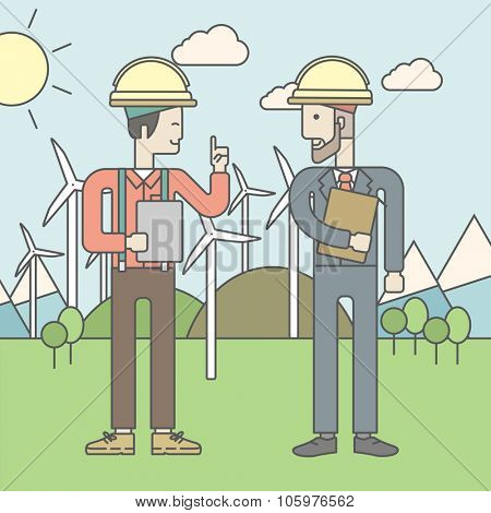 Two men in helmet with a tablet in hands on a background with solar panels and wind turbines. Vector line design illustration. Square layout.