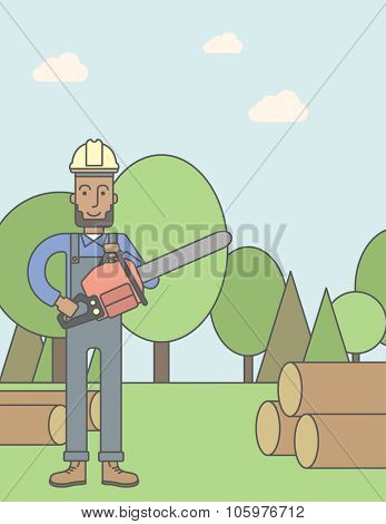 An african-american lumber-man with a chainsaw on a forest background. Vector line design illustration. Vertical poster layout with a text space.