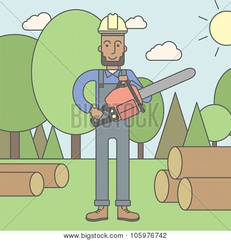 An african-american lumber-man with a chainsaw on a forest background. Vector line design illustration. Square layout.
