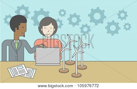 An african-american man and an asian woman watching the laptop screen, with wind turbine models and papers on the table. Vector line design illustration. Horizontal layout with a text space for a