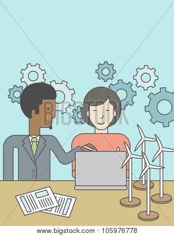 An african-american man and an asian woman watching the laptop screen, with wind turbine models and papers on the table. Vector line design illustration. Vertical layout with a text space for a social