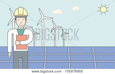 An asian man in helmet with a document in hands on a background with big solar panel and wind turbines. Vector line design illustration. Horizontal layout with a text space for a social media post.