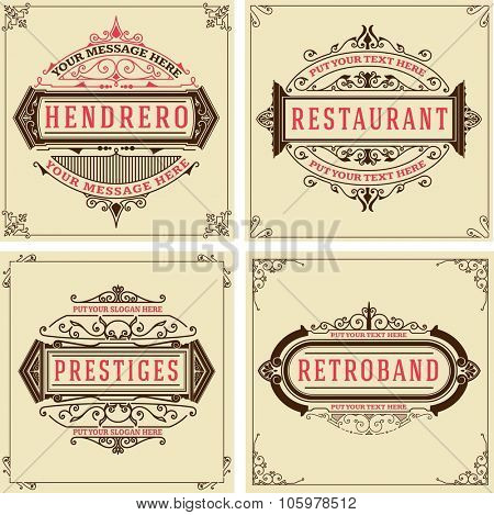 Vintage logo templates, Hotel, Restaurant, Business or Boutique Identity. Design with Flourishes Elegant Design Elements. Royalty, Heraldic style.