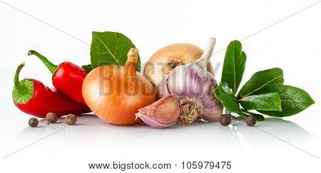 Fresh spice with garlic bay leaf. Isolated on white background. Illustration