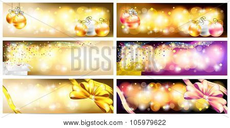 Stylish Colorful And Golden Abstract Magic Christmas Night Celebration With Present Box, Balls, Ribb