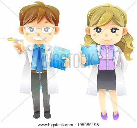 Highly Detail Illustration Cartoon Male And Female Physician Doctor In White Coat Uniform With Injec