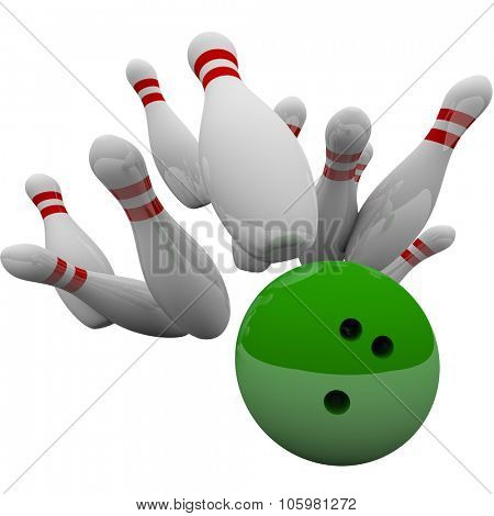 Green bowling ball striking pins in 3d isolation to illustrate winning game, success, victory and achievement